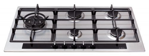 CDA HG9350SS 90cm 5 Burner Front Control Gas Hob in Stainless Steel + Wok Burner