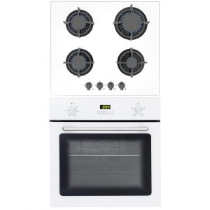 SIA 60cm White Single Electric Fan Oven & SIA 60cm White 4 Burner Gas Glass Hob