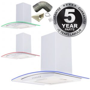 SIA 70cm White LED Edge Lit Curved Glass Cooker Hood Extractor & 1m Ducting Kit