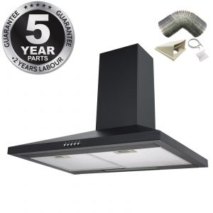 SIA CHL70BL 70cm Chimney Cooker Hood Extractor Fan In Black With 1m Ducting