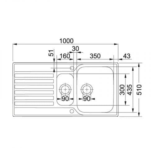 Franke Ascona ASX651 Reversible 1.5 Bowl Kitchen Sink In Stainless Steel
