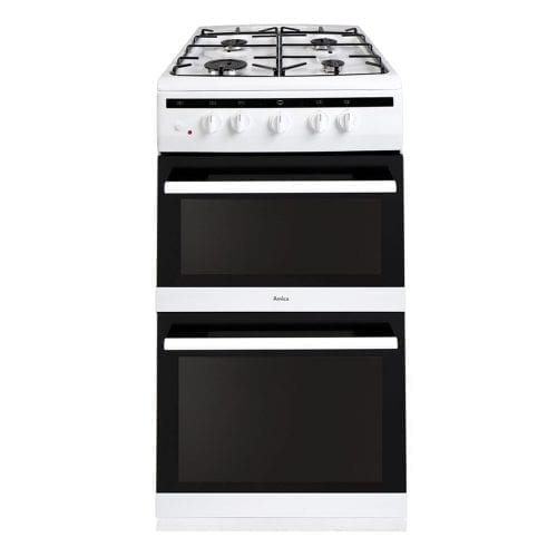 Amica 508TGG2W 50cm Freestanding 4 Burner Gas Double Oven White Cooker