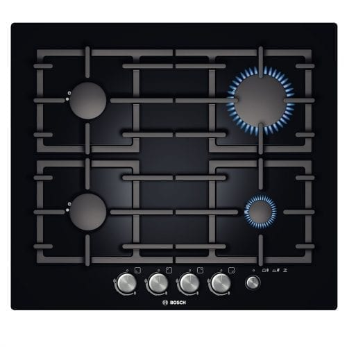 Bosch PPP616M91E 59cm Premium Glass Gas Hob With Frameless Design - Black