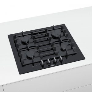 Bosch PPP6A6B90 60cm Flame Select Tempered Glass Four Burner Gas Hob - Black