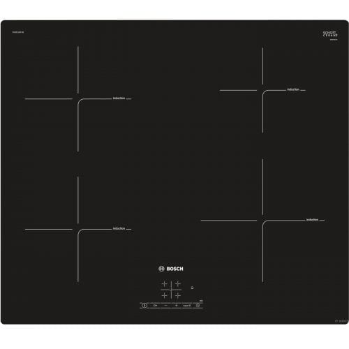Bosch PUE611BF1B 59cm Frameless Four Zone Induction Hob With PowerBoost- Black