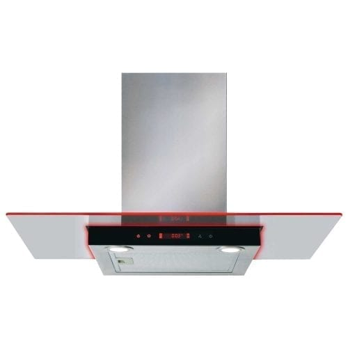 CDA EKN90SS 90cm Flat Glass Cooker Hood With Edge Lighting - Stainless Steel