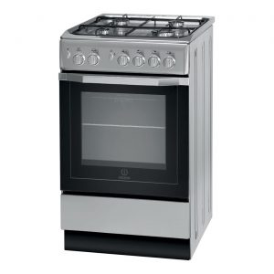 Indesit I5GG1S 50cm Freestanding Stainless Steel 4 Burner Gas Single Oven Cooker