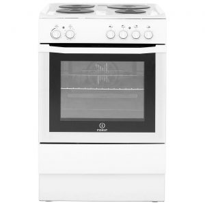 INDESIT I6EVAW UK 60cm Single Oven Electric Solid Plate Cooker - White