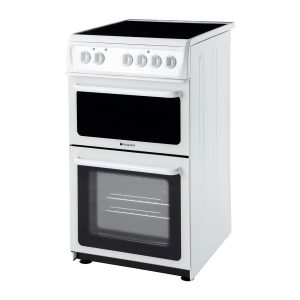 Hotpoint HAE51PS White 50cm Double Cavity Electric Cooker With Ceramic Hob