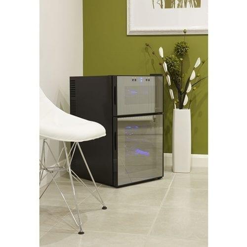 Husky HUS-HN7 Reflections Dual Zone Table Top Freestanding Wine Cooler - Black