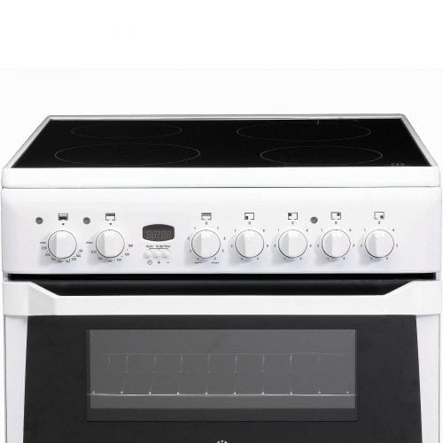 INDESIT ID60C2WS 4 Burner Electric Ceramic Double Oven Cooker With Grill - White