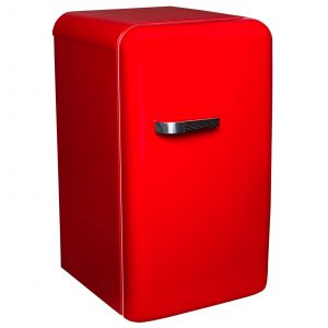 SIA Red Free-Standing 50's Retro Style Fridge with Ice Box
