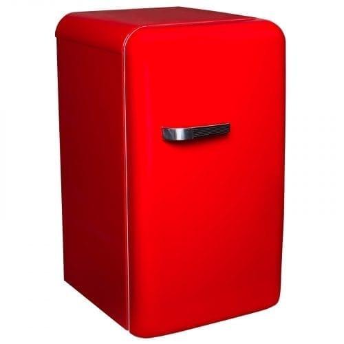 SIA Red Free-Standing 50's Retro Style Fridge with Ice Box