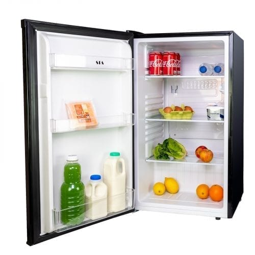 SIA LFS01BL 49cm Free Standing Under Counter Larder Fridge In Black | A+ Rating