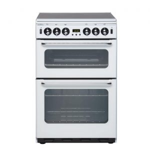 New World Newhome 550TSIDOM White 55cm 4 Burner Gas Cooker with Double Oven