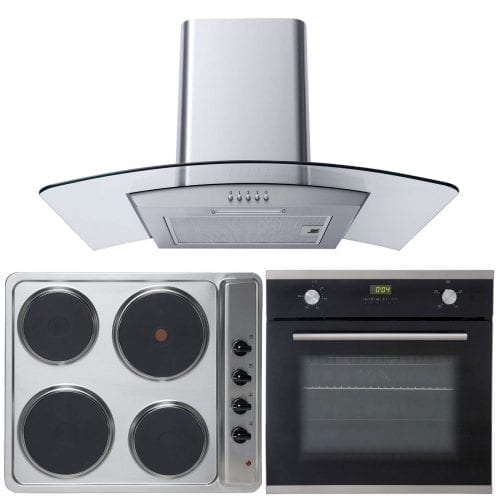 SIA 60cm Single Electric Oven, 4 Ring Electric Hob and Curved Glass Cooker Hood