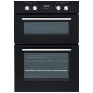 SIA 60cm Built-In Electric Double Oven, 4 Burner Gas Hob And Curved Cooker Hood