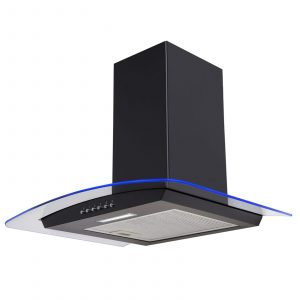 SIA CPLE61BL 60cm Black 3 Colour LED Edge Curved Glass Cooker Hood Extractor Fan