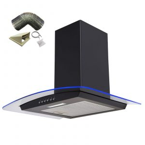 SIA 60cm Black 3 Colour LED Edge Lit Curved Glass Cooker Hood And 1m Ducting Kit