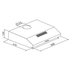 SIA V50BL 50cm Black Slimline Visor Cooker Hood Kitchen Extractor Fan