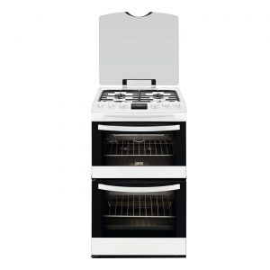 Zanussi ZCG43200WA 55cm Freestanding Double Oven Gas Cooker with Grill - White