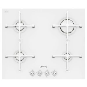 Smeg PV164CB Linea 60cm White 4 Burner Gas on Glass Hob With Straight Edge Glass