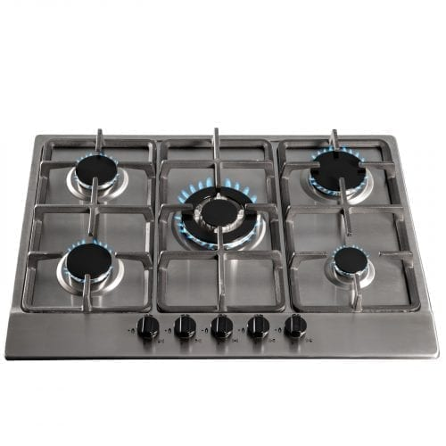 SIA SSG701SS 70cm 5 Burner Gas Hob In Stainless Steel With Cast Iron Pan Stands