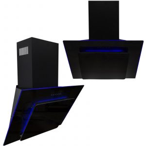 SIA 70cm Black 3 Colour LED Edge Lit Angled Glass Cooker Hood And 3m Ducting Kit