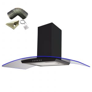 SIA 90cm Black 3 Colour LED Edge Lit Curved Glass Cooker Hood Extractor Fan