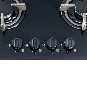 SIA GHG603BL 60cm Black 4 Burner Gas On Glass Hob With Cast Iron Pan Stands