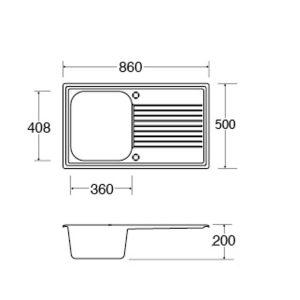 CDA AS1CM 1.0 Bowl Cream Reversible Quartz Composite Kitchen Sink & Waste Kit
