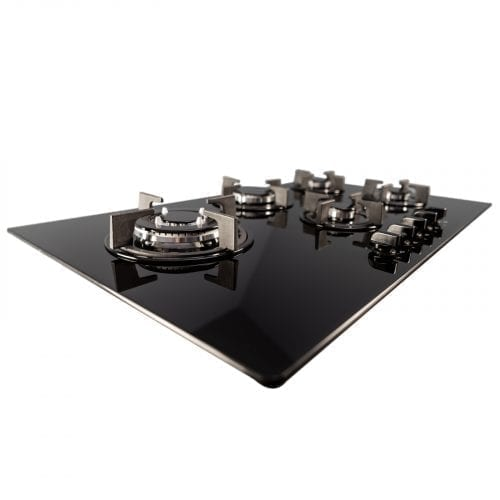 SIA GHG902BL 90cm 5 Burner Gas On Glass Hob In Black With Cast Iron Pan Stands