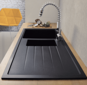 CDA KG44BL 1.5 Bowl Black Granite Quartz Composite Reversible Kitchen Sink