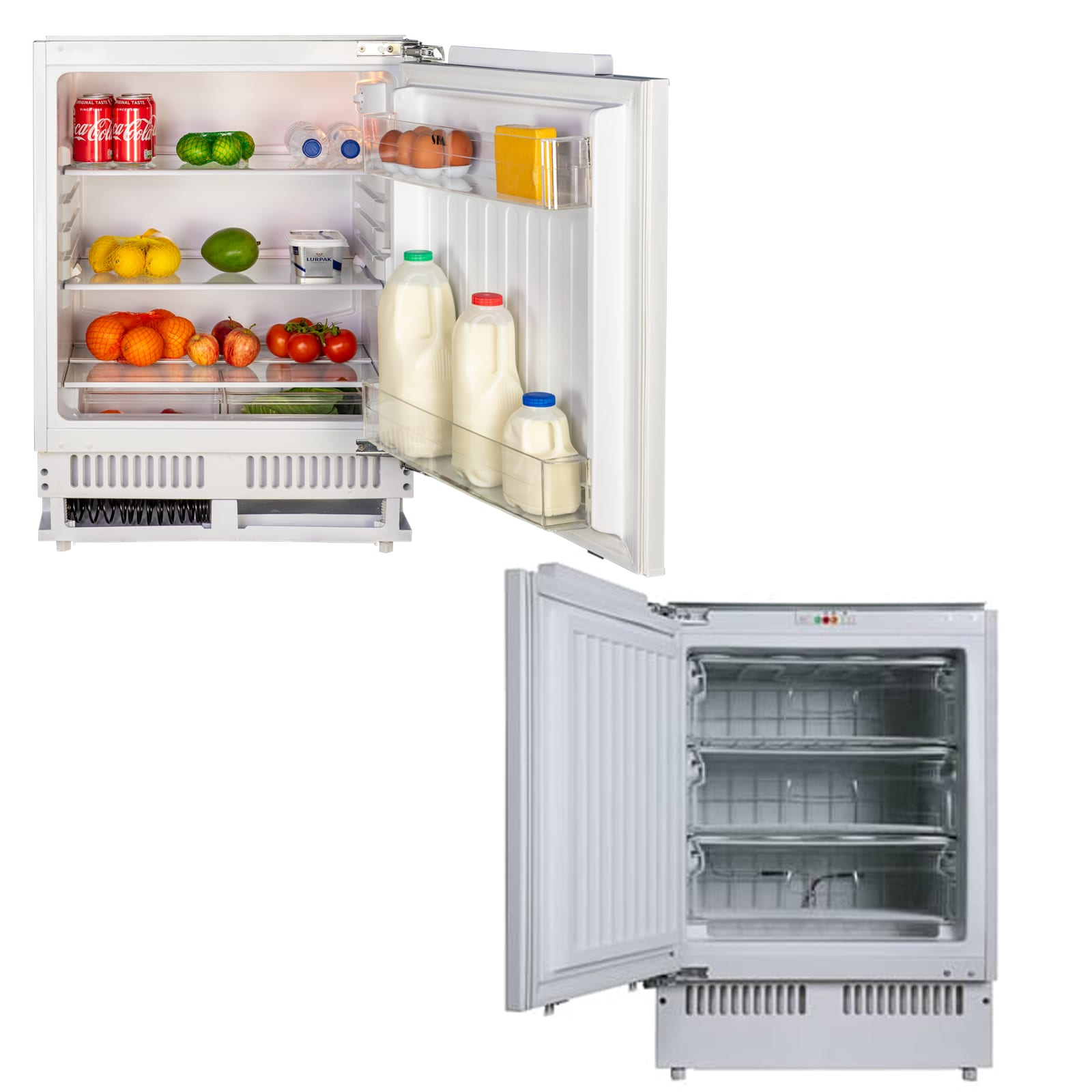 Sia 60cm White Integrated Under Counter Freezer And Larder