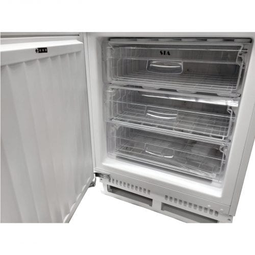 SIA 60cm White Integrated Under Counter Freezer And Larder Fridge Twin Pack