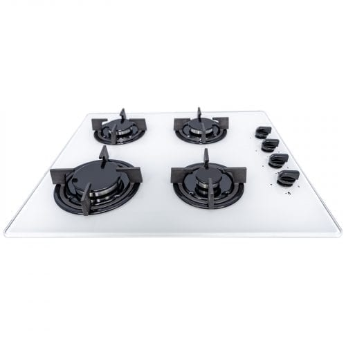 SIA GHG602WH 60cm 4 Burner Gas On Glass Hob In White With Cast Iron Pan Stands