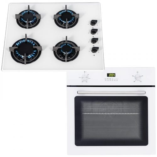 SIA 60cm White Single Electric True Fan Kitchen Oven & 4 Burner Gas On Glass Hob