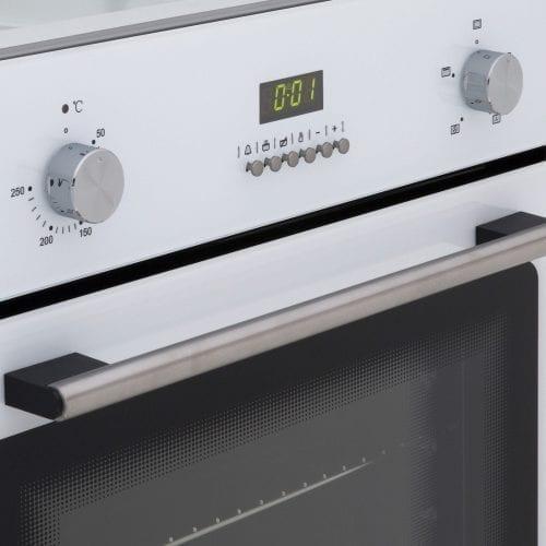 SIA White 60cm Single Electric Fan Oven & SIA 60cm White 4 Burner Gas Glass Hob