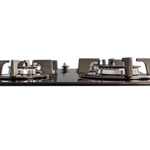 SIA GHG602BL 60cm 4 Burner Gas On Glass Hob In Black With Cast Iron Pan Stands