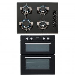 SIA 60cm Black Built Under Double Electric Fan Oven & 4 Burner Gas On Glass Hob