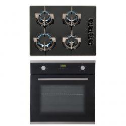 SIA 60cm Black Single Electric True Fan Oven & 4 Burner Black Gas On Glass Hob