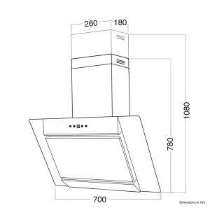 SIA AGL71SS 70cm Stainless Steel Angled Chimney Cooker Hood Kitchen Extractor