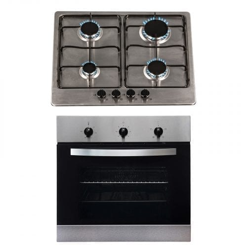 SIA 60cm Stainless Steel Single Electric True Fan Oven & 4 Burner Gas Burner Hob