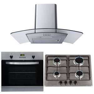 SIA 60cm Electric Single Fan Oven, 4 Burner Gas Hob And Curved Glass Cooker Hood