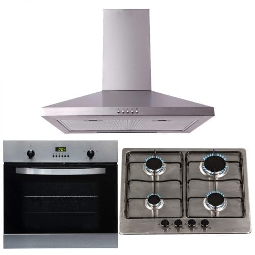 SIA 60cm Electric True Fan Single Oven, 4 Burner Gas Hob & Chimney Cooker Hood