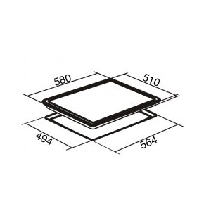 SIA CERH62BL 60cm Black 4 Zone Frameless Knob Control Electric Ceramic Hob