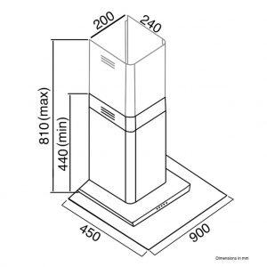 SIA FL91SS 90cm Stainless Steel Flat Glass Chimney Cooker Hood Extractor Fan