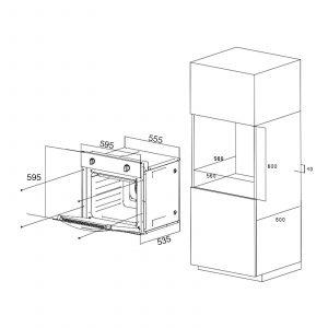 SIA 60cm Black Single True Fan Oven, Gas On Glass Hob & Curved Glass Cooker Hood