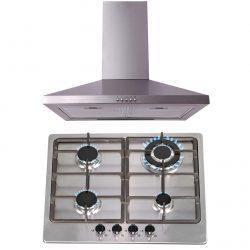 SIA 60cm Stainless Steel 4 Burner Gas Hob & Chimney Cooker Hood Extractor Fan