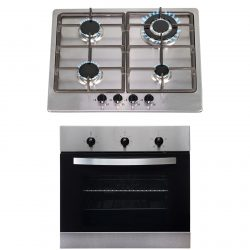 SIA 60cm Stainless Steel Digital Single Electric Fan Oven And 4 Burner Gas Hob